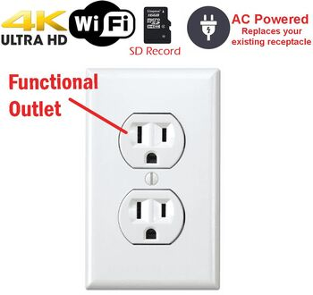 Battery Powered Outlet >> Secureguard 4k Battery Powered Functional Receptacle Outlet Spy Camera