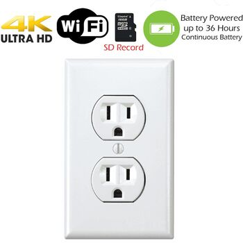 Battery Powered Outlet >> Secureguard 4k Battery Powered Receptacle Outlet Spy Camera