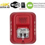 4K Ultra HD WiFi Battery Powered Fire Alarm Strobe Spy Camera