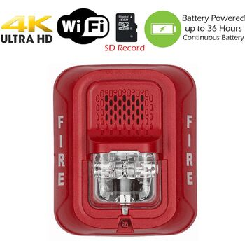 4K Ultra HD WiFi Battery Powered Fire Alarm Strobe Spy Camera