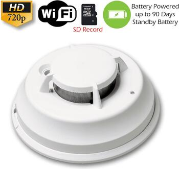 XSMOKE 720P/1080P WiFi Commercial Grade Smoke Detector Fire Alarm Spy Camera (up to 90 Days Battery)
