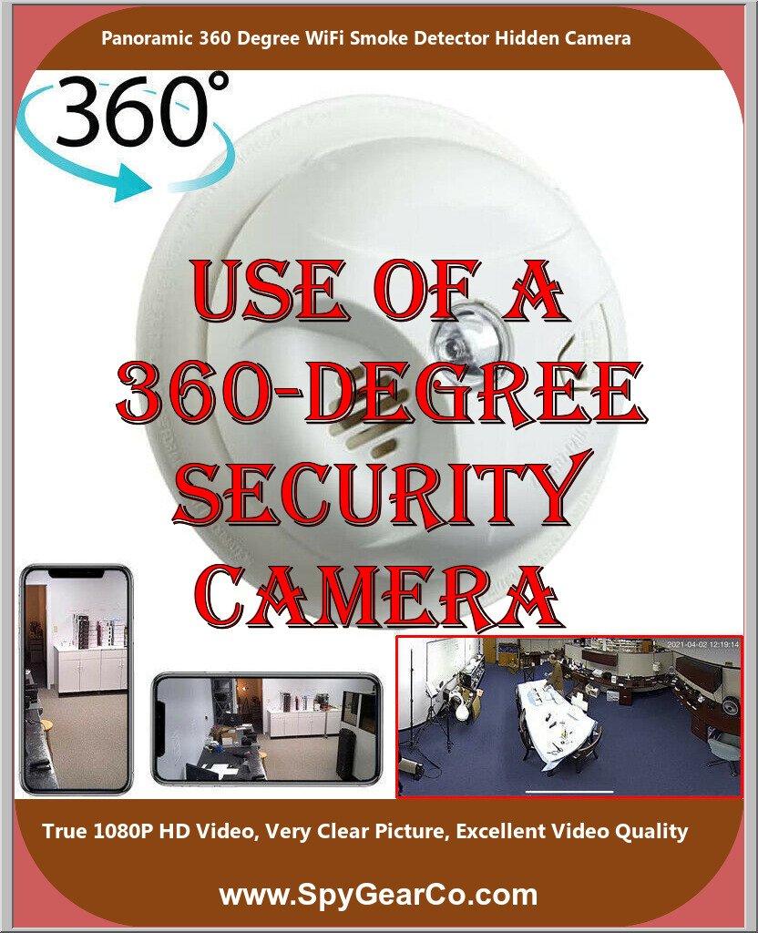 Panoramic 360 Degree WiFi Smoke Detector Hidden Camera