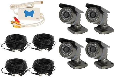 4 Channel Wired USB DVR Surveillance System