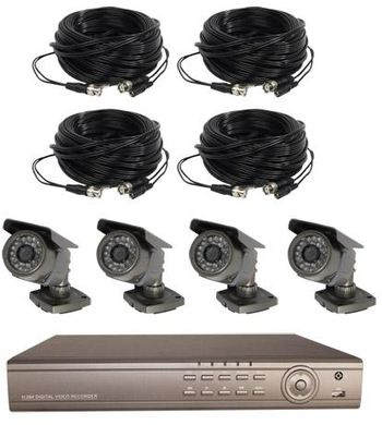 Digital Video Surveillance - 4 Channel Wired Recording System W/O Monitor