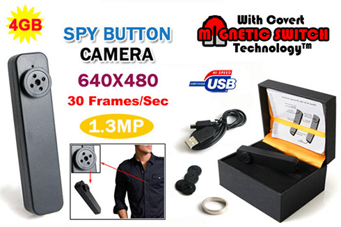 All-in-One Shirt Button Spy Camera DVR w/ 4GB & Time/Date Stamp