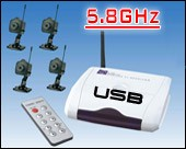 Mini 5.8GHz Wireless Spy Camera with PC USB Adapter (Set of 4)
