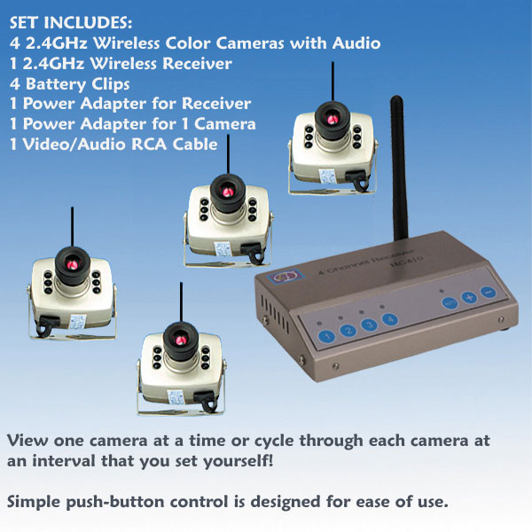 Small Wireless Color Spy Camera 2.4GHz (Set of 4)
