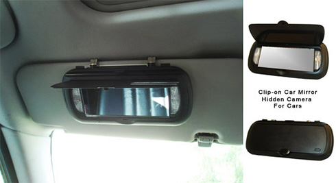 Clip On Car Mirror Hidden Camera With Built In Dvr
