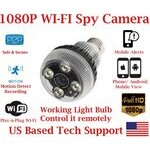 LED Lamp Light Bulb Wi-Fi Spy Camera w/1080P