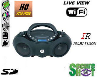 Secure Shot HD Live View Boom Box Spy Camera/DVR