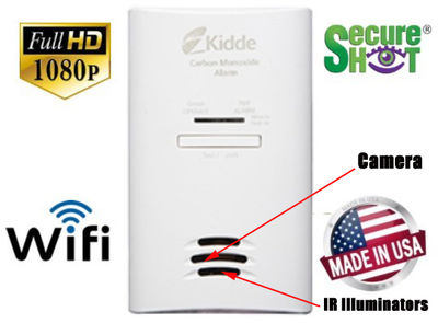 SecureShot HD Live View Kidde CO2 Detector Hidden Camera/DVR w/Nightvision