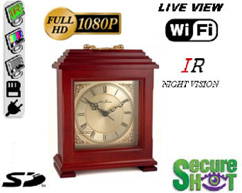 Secure Shot HD Live View Mantle Clock Spy Camera/DVR