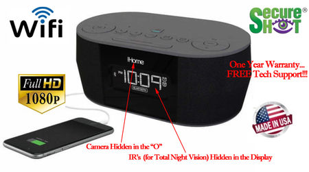 SecureShot HD Live View Ihome Bluetooth Clock Radio Spy Camera/DVR