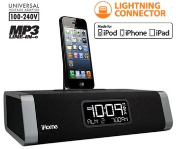 SecureShot Iphone 5 Clock Radio/Docking Station (Lightning Dock) Covert Cam with Motion Activation and Pre-Record D1
