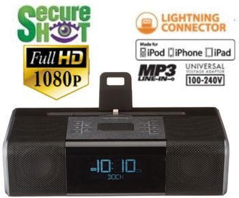 Full High Def 1080P Ipod Dock Clock Radio Spy Camera/DVR w/NightVision