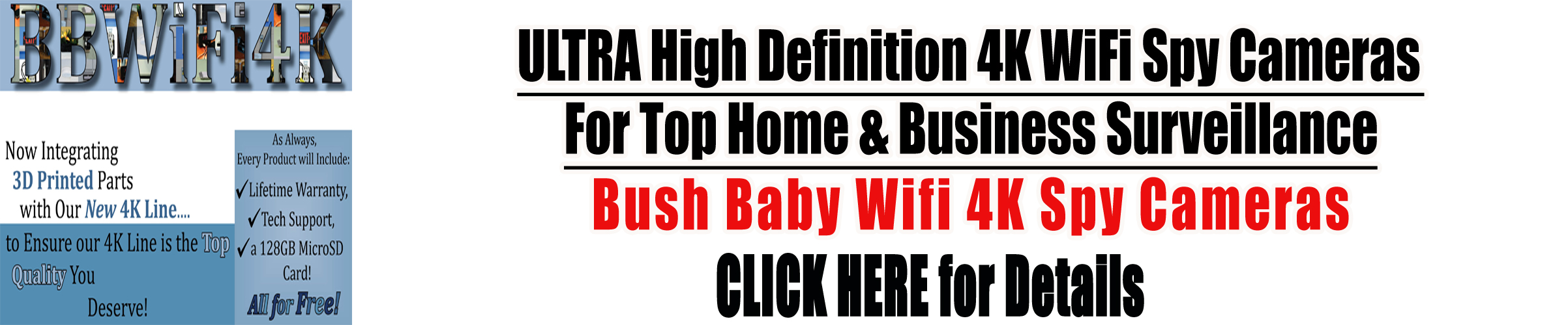 Bush Baby 4K Wifi Spy Cemeras