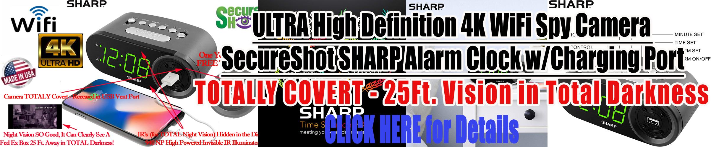 SecureShot Sharp Nightvision Alarm Clock Wifi Spy Cemera/DVR